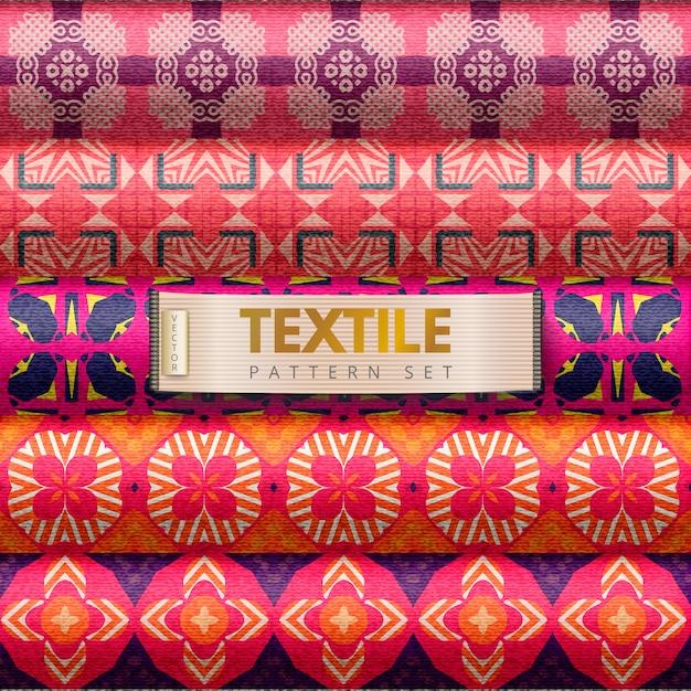 Set di modelli tessili Vettore Premium