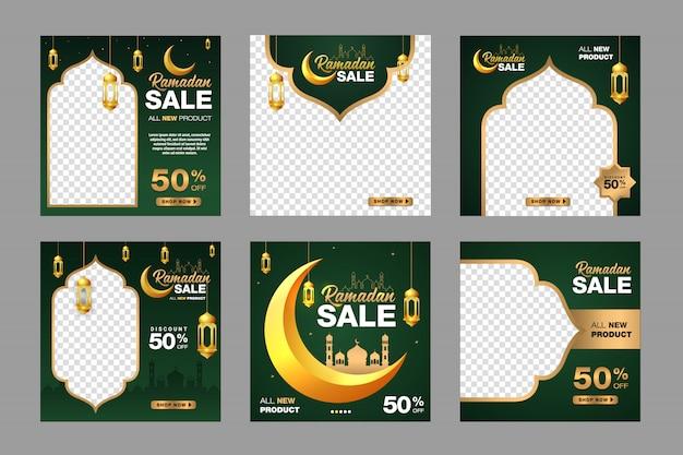 Set di modello di banner vendita ramadan. con ornamento luna, moschea e lanterna sfondo. adatto per post su social media, instagram e pubblicità su internet. illustrazione con foto college Vettore Premium