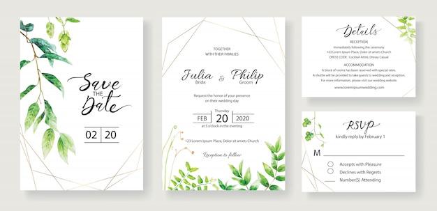 Set di modello di carta di invito di nozze. verde. Vettore Premium