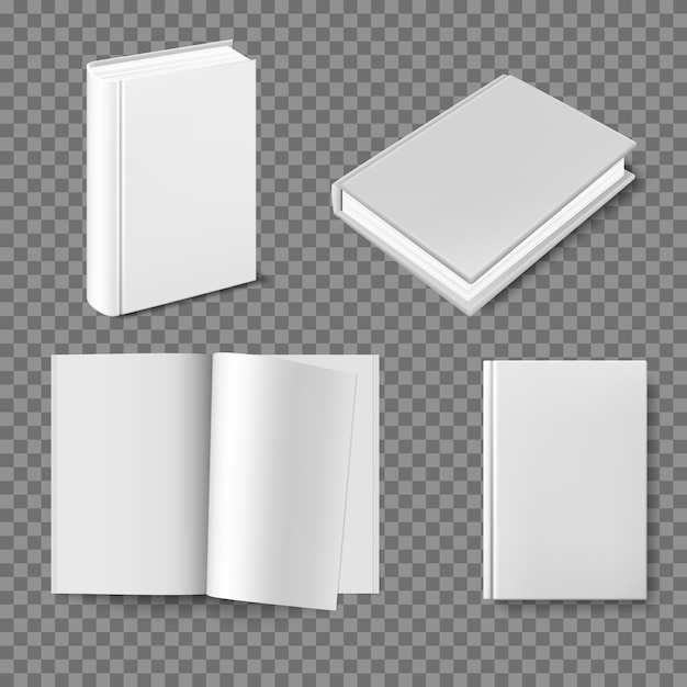 Set di modello di copertina del libro bianco. Vettore Premium