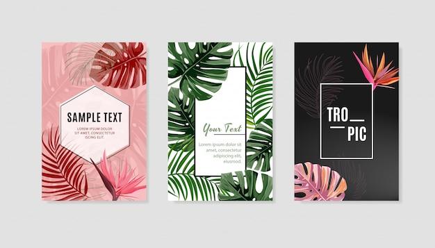 Set di modello di copertina di design tropicale. Vettore Premium