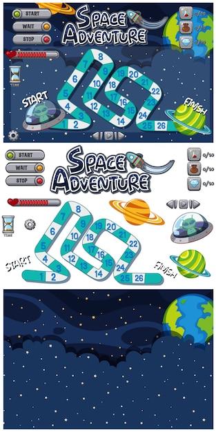 Set di modello di gioco con stelle e alieni di notte Vettore Premium