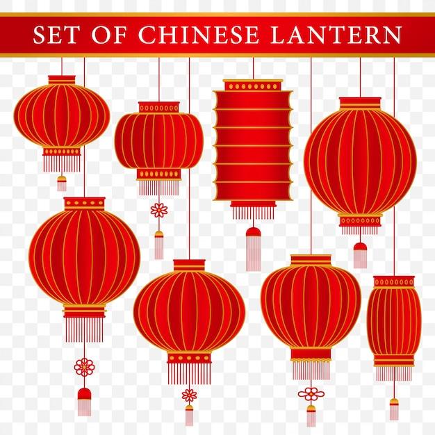 Set di modello di lanterna tradizionale cinese con il concetto realistico Vettore Premium