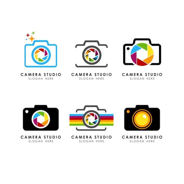 Set di modello di logo della fotocamera Vettore Premium