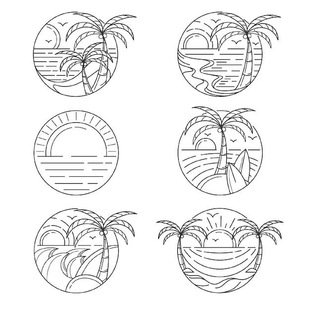 Set di modello di logo di isola di contorno Vettore Premium