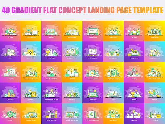 Set di modello di pagina di atterraggio concetto di design linea piatta Vettore Premium