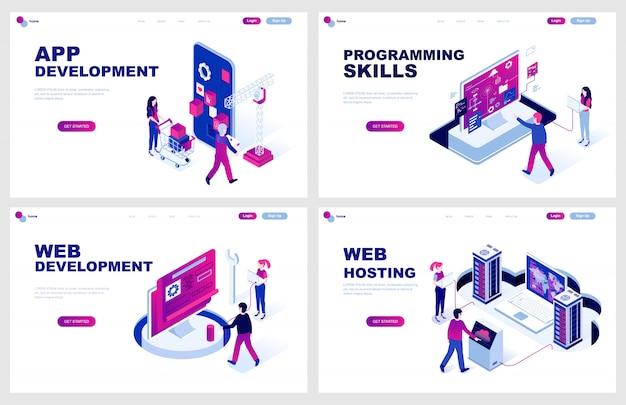 Set di modello di pagina di destinazione isometrica per lo sviluppo di siti web Vettore Premium
