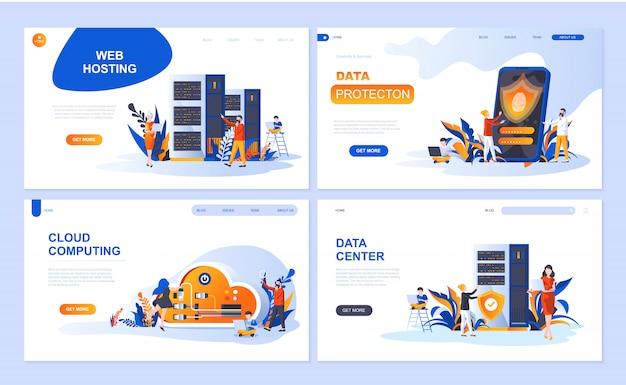 Set di modello di pagina di destinazione per hosting, protezione dati, data center, cloud computing Vettore Premium