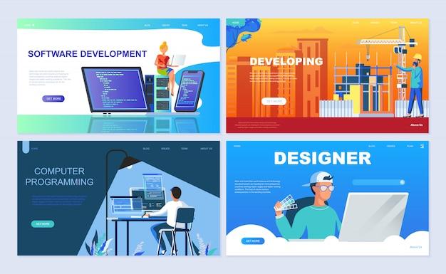Set di modello di pagina di destinazione per il software Vettore Premium