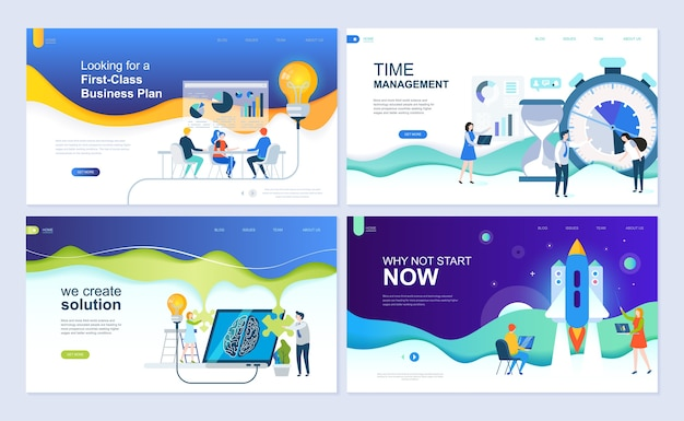 Set di modello di pagina di destinazione per soluzioni aziendali, avvio, gestione del tempo, pianificazione. Vettore Premium