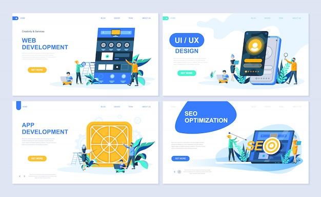 Set di modello di pagina di destinazione Vettore Premium