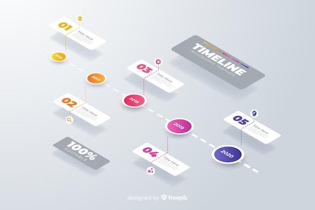 Set di modello di passaggi infografica timeline Vettore gratuito