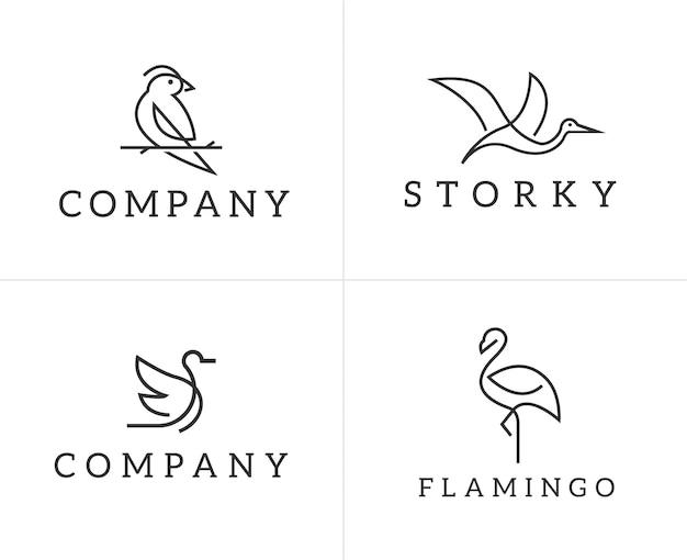 Set di modello di progettazione di logo di uccelli Vettore Premium