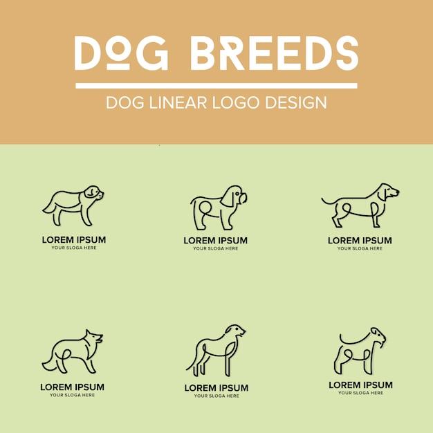 Set di modello di progettazione di logo lineare di cane Vettore Premium