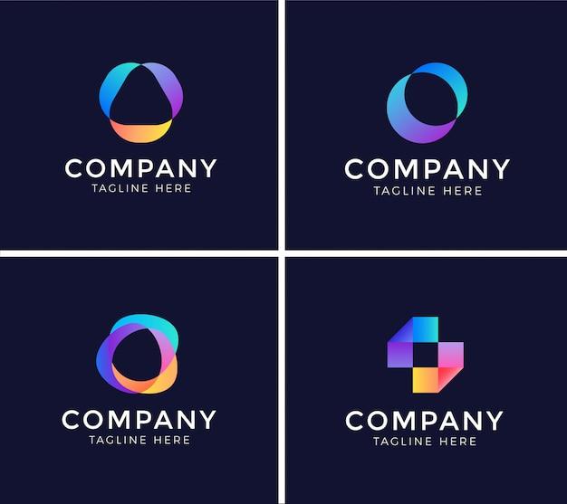 Set di modello di progettazione logo astratto Vettore Premium