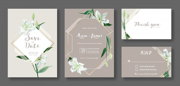 Set di modello di scheda dell'invito di nozze. fiore di giglio bianco. Vettore Premium