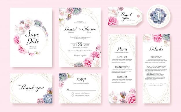 Set di modello di scheda dell'invito di nozze. fiore di rosa, piante succulente. Vettore Premium
