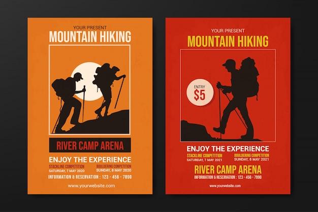 Set di modello di volantino escursionismo di montagna, vettore di design piatto retrò Vettore Premium