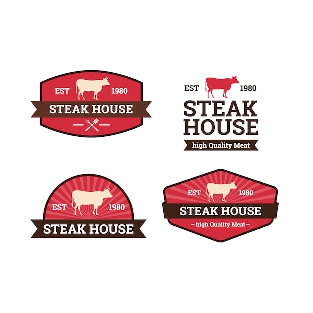 Set di modello logo steak house Vettore Premium