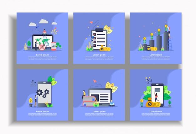 Set di modello piatto, facile da modificare e personalizzare Vettore Premium