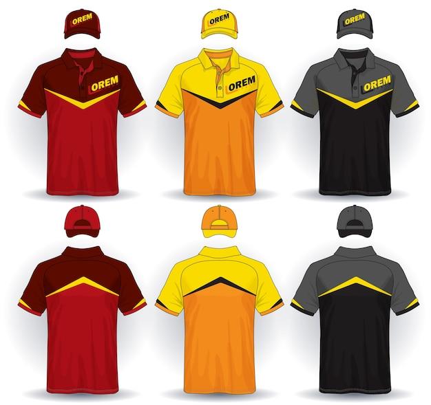 Set di modello uniforme, polo e berretti. Vettore Premium