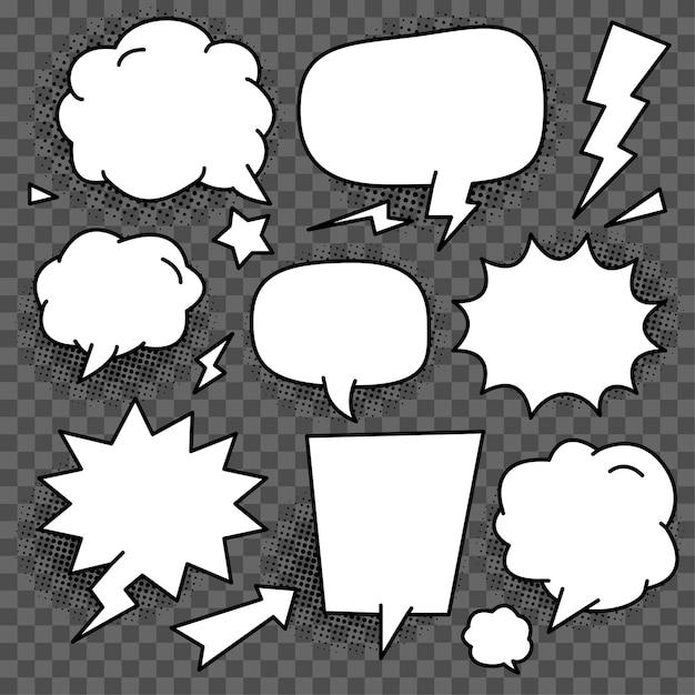 Set di modello vettoriale discorso bolla bianca Vettore Premium