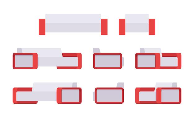 Set di moderno divano bianco e poltrona Vettore Premium