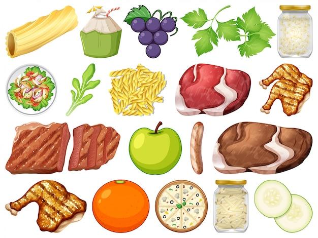 Set di molti alimenti Vettore Premium