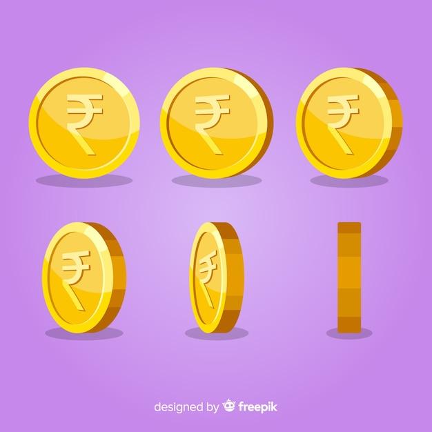 Set di monete rupia indiana Vettore gratuito