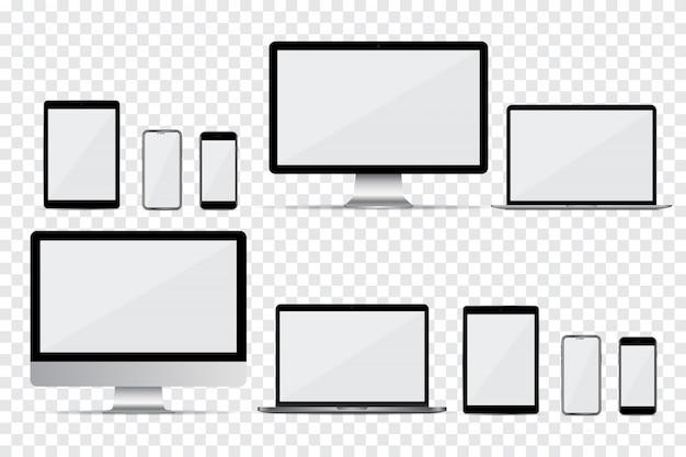 Set di monitor del computer, laptop, smartphone e tablet con schermo vuoto Vettore Premium