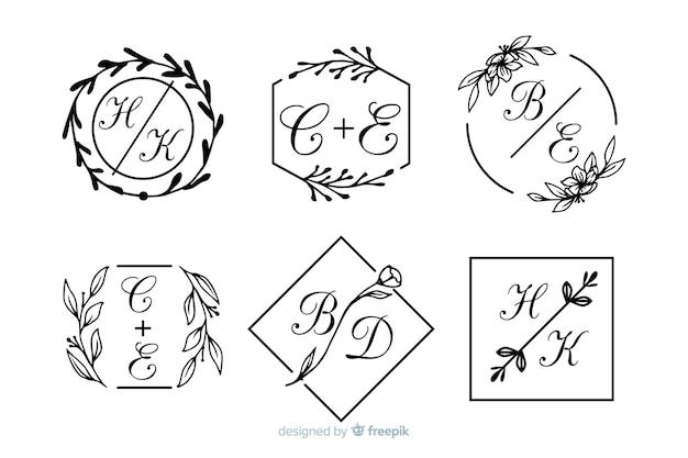 Set di monogramma di nozze ornamentale Vettore gratuito