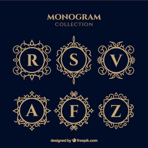 Set di monogrammi d'oro eleganti Vettore gratuito