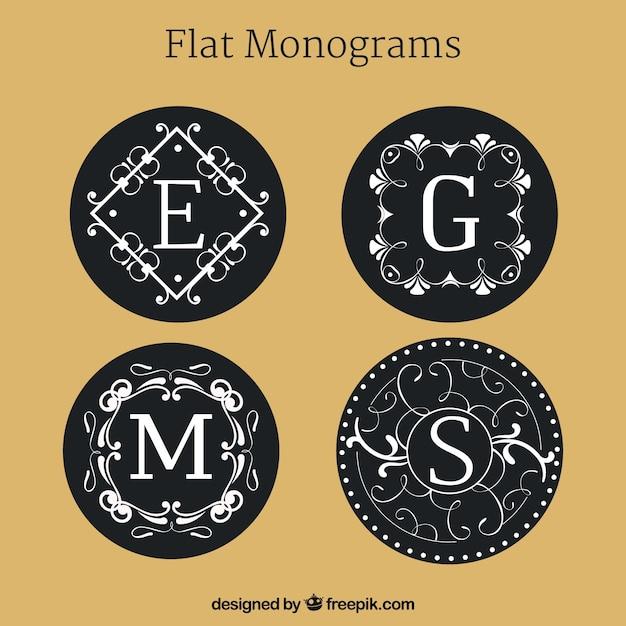 Set di monogrammi in design piatto Vettore gratuito