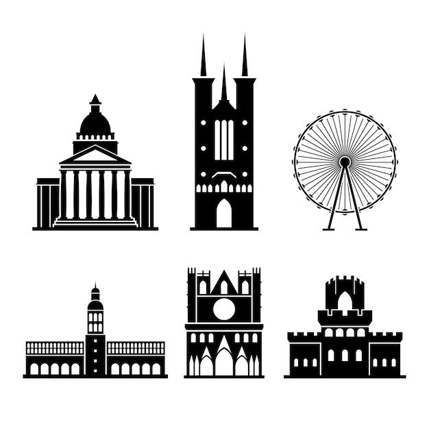 Set di monumenti di lione in silhouette Vettore Premium