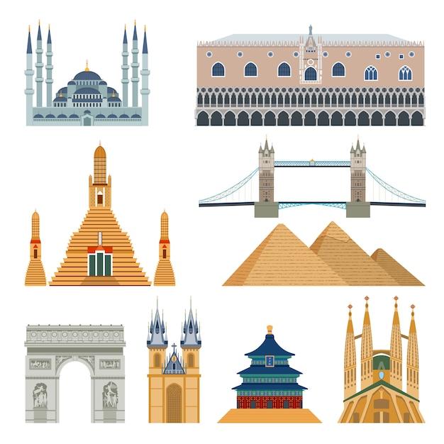 Set di monumenti e monumenti Vettore gratuito