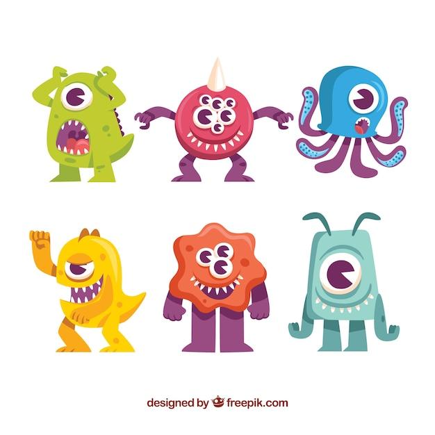 Set di mostri colorati Vettore gratuito