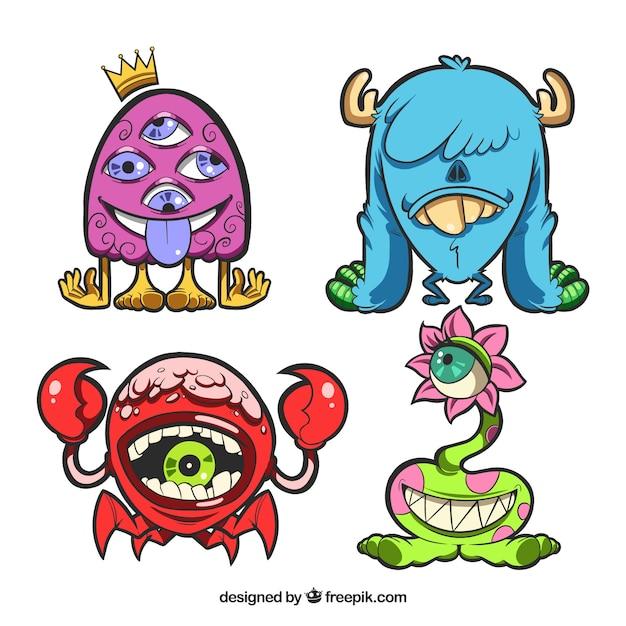 Set di mostri di personaggi con facce buffe Vettore gratuito