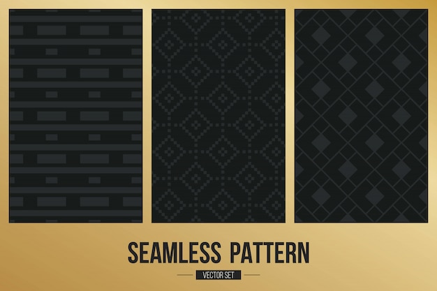 Set di motivi geometrici monocromatici. Vettore Premium