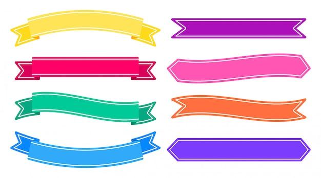 Set di nastri colorati banner Vettore Premium