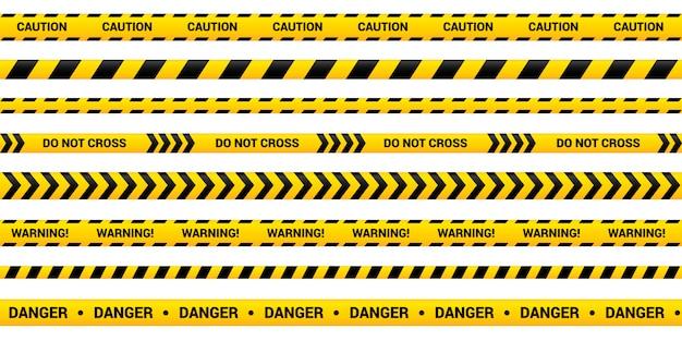Set di nastri di avvertenza di nastri di avvertimento gialli, modello di nastro. Vettore Premium