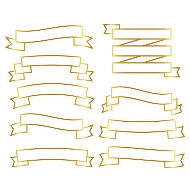 Set di nastri di linea d'oro Vettore gratuito