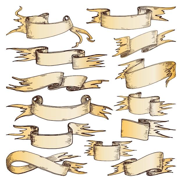 Set di nastri disegnati a mano Vettore Premium