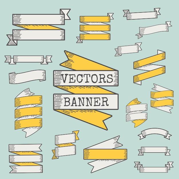 Set di nastri e banner Vettore gratuito