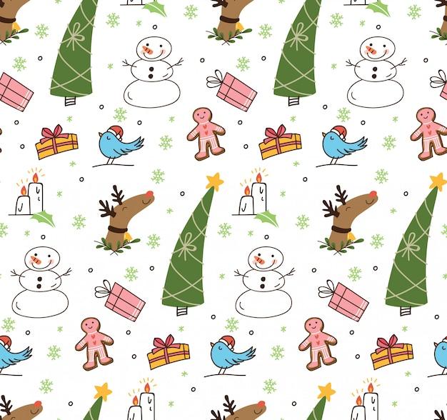Set di natale carino doodle sfondo Vettore Premium