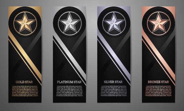 Set di nero banner, oro, platino, argento e bronzo stella, illustrazione vettoriale Vettore Premium