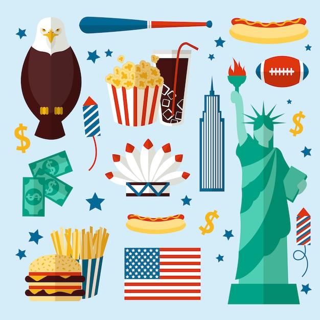 Set di new york usa Vettore gratuito