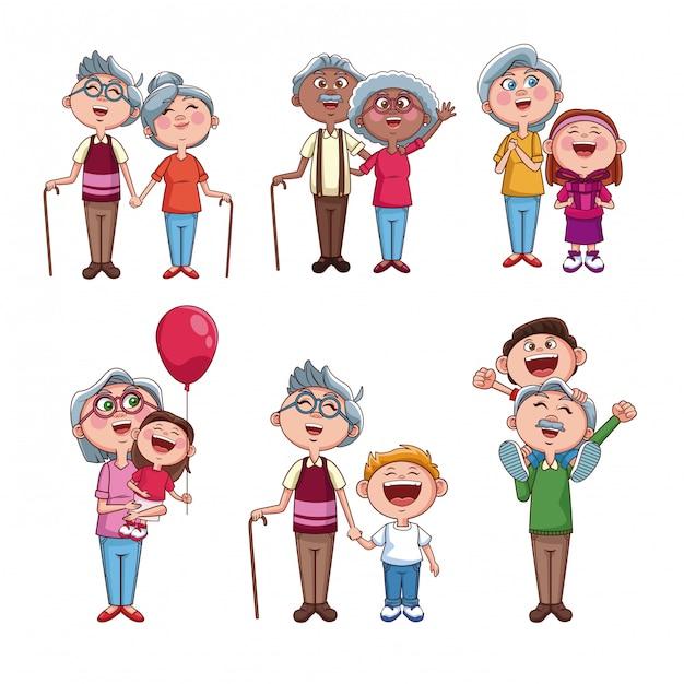 Set di nonni con bambini Vettore Premium