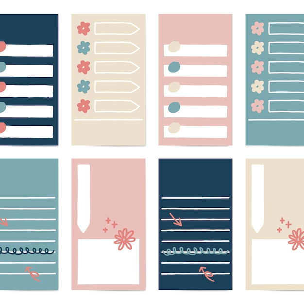 Set di note adesive Vettore gratuito