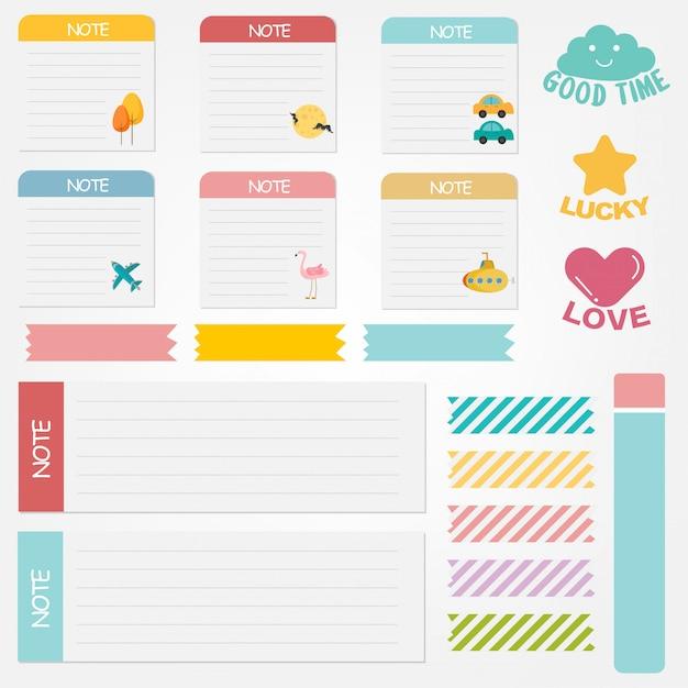 Set di note di carta carino. banner di carta design per messaggio. Vettore Premium