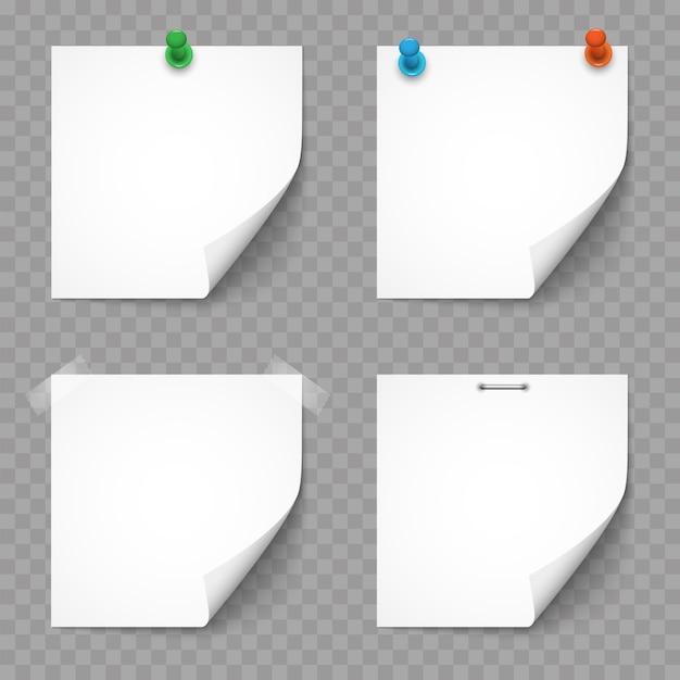 Set di note e adesivi di carta bianca Vettore Premium